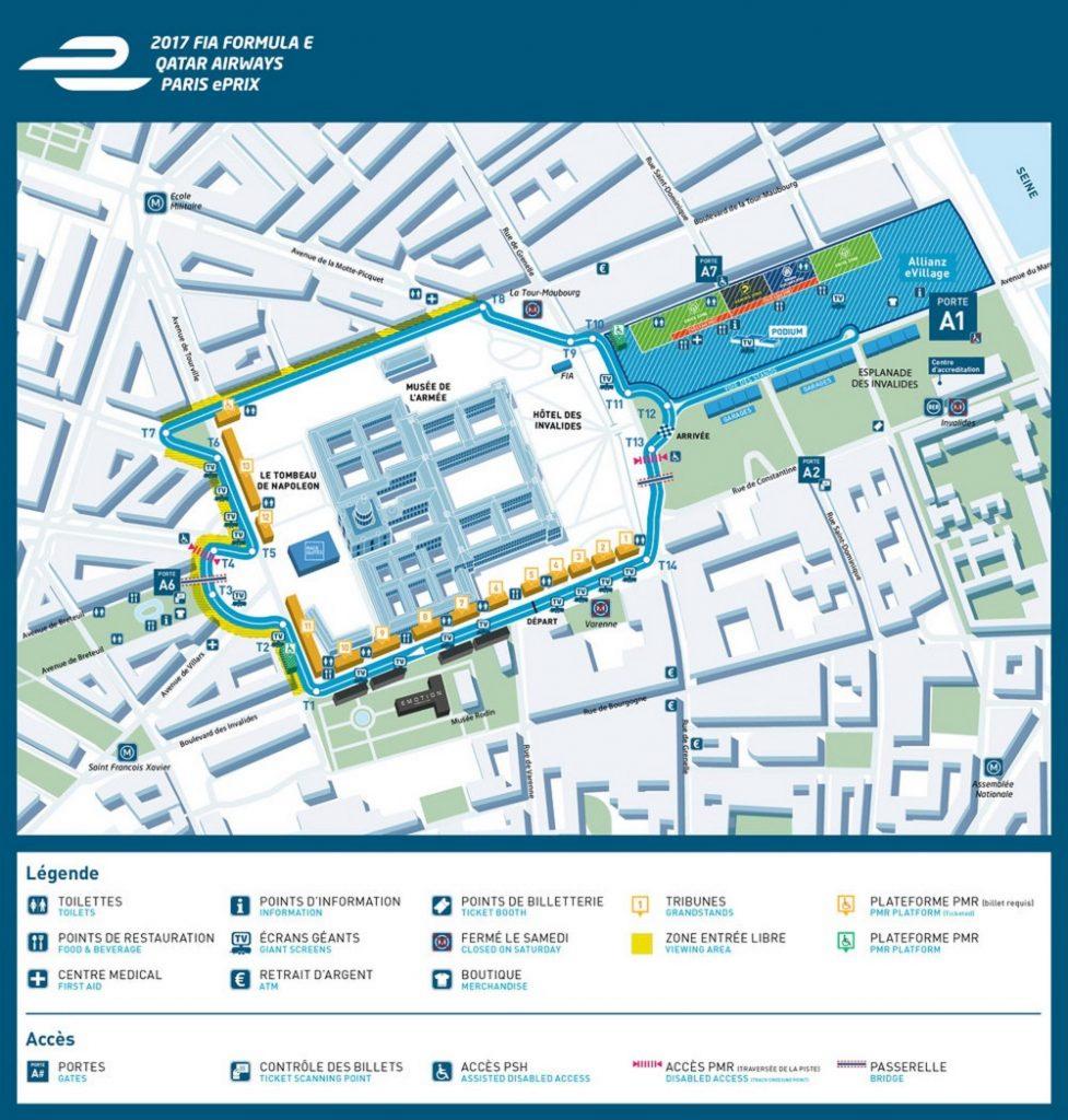 Plan du circuit des Invalides, pour le Grand Prix de Formule E de Paris, 19-20 mai 2017