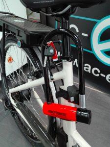 l'antivol Kryptonite monté sur le vélo électrique AC-Emotion e-Balade