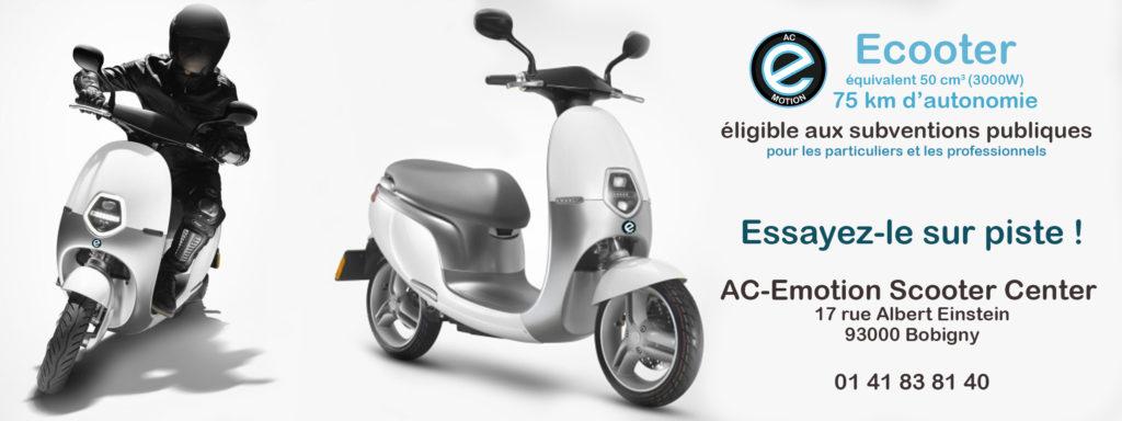 scooter électrique AC-Emotion Ecooter : essayez-le ! Et bénéficiez de la subvention des cyclomoteurs électriques.